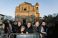 CASTROCARO TERME E TERRA DEL SOLE, ITALY - 5 JANUARY 2020: Supporters of Matteo Salvini, former Interior Minister of Italy and leader of the far-right League party, watch taking selfies with other supporters after a rally in Castrocaro Terme e Terra del Sole, Italy, on January 5th 2020.<br /> <br /> Matteo Salvini is campaigning in the region of Emilia Romagna to support the League candidate Lucia Borgonzoni running for governor.<br /> <br /> After being ousted from government in September 2019, Matteo Salvini has made it a priority to campaign in all the Italian regions undergoing regional elections to demonstrate that, in power or not, he still commands considerable support.<br /> <br /> The January 26th regional elections in Emilia Romagna, traditionally the home of the Italian left, has been targeted by Matteo Salvini as a catalyst for bringing down the government. A loss for the center-left Democratic Party (PD) against Mr Salvini's right would strip the centre-left party of control of its symbolic heartland, and probably trigger a crisis in its coalition with the Five Star Movement.