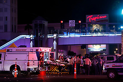 Oct 2, 2017 - Las Vegas, Nevada, U.S. - Medical workers stage in the intersection of Tropicana Avenue and Las Vegas Boulevard South after a mass shooting at a music festival on the Las Vegas Strip Sunday, Oct. 1, 2017. At least 58 people died in the shooting and 515 people were injured Sunday night. The shooting has become the deadliest in modern U.S. history. The suspect, 64-year-old Stephen Paddock, was found dead in his Mandalay Bay hotel room. (Credit Image: © Steve Marcus/Las Vegas Sun via ZUMA Wire)