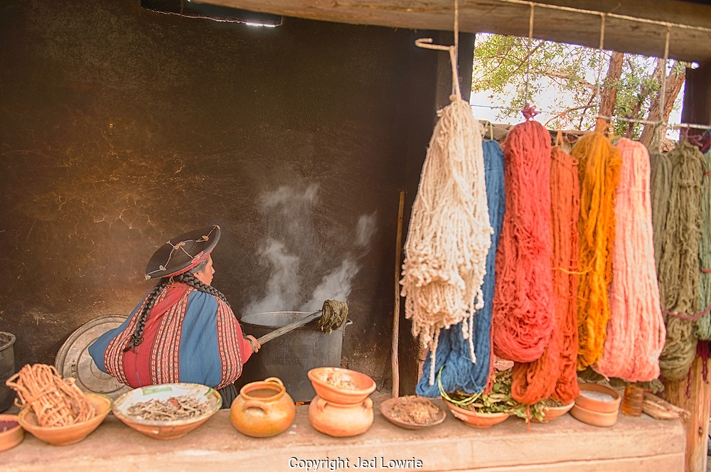 The Center for Traditional Textiles of Cusco is a co-op established in 1996.  It was created to help aid in the survival of traditional Andean textile techniques and to provide support to weaving communities. Using ancient techniques the Quechua women in Chinchero create a number of different colored fibers for their weaving.