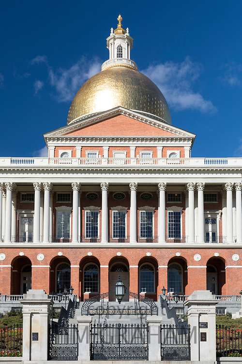 Massachusetts State House the seat of Government, with golden dome and columns in the city of Boston, USA