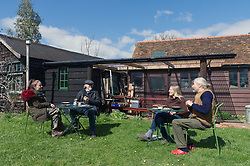 New rules enable up to six people from two homes or families to meet up outdoors during Coronavirus pandemic, UK 2 April 2021<br /> Model Released.