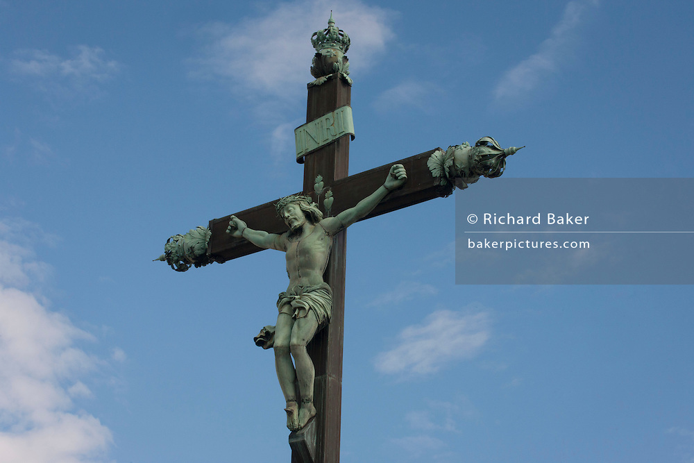 A crucified Christ on the cross in Montpellier, south of France.