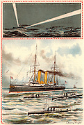 Ships of the  British Navy: A First Class Cruiser and Torpedo Boats.  Top: Signalling at night using searchlights.  From 'Bubbles' c1900 published by Dr Barnados Homes for Children. Oleograph.