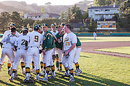 San Marin's Travis Grossi leads the San Marin Mustangs team chear during the  North Coast Section Division 3 final at San Marin High. The  umpires suspended the NCS Division 3 final after 10 innings with the score 4-4. NCS officials later declared both teams Co-champions.