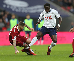 22 October 2017 Wembley: Premier League Football: Tottenham Hotspur v Liverpool: Alberto Moreno of Liverpool is caught by the boot of Moussa Sissoko.<br /> Photo: Mark Leech