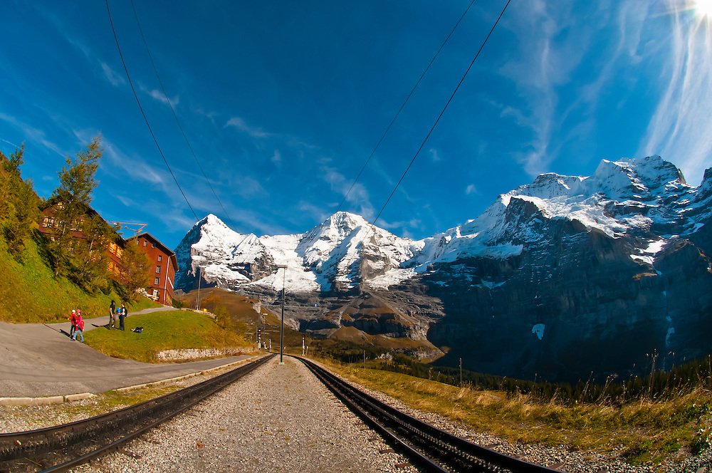Jungfrau Railway train station at Wengernalp, Swiss Alps, Canton Bern, Switzerland