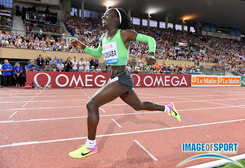 Aug 25, 2016; Lausanne, Switzerland; Francine Niyonsaba (BDI) celebrates after winning the women's 800m in 1:57.71 during the 2016 Athletissima in an IAAF Diamond League meeting at Stade Olympique de la Pontaise. Photo by Jiro Mochizuki