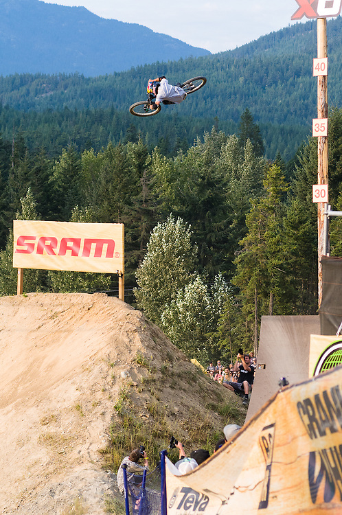 Anthony Messere going huge on the SRAM hit at Crankworx. Shot for ESPN Action Sports.