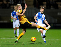 Lee Mansell of Bristol Rovers is challenged by Robbie Simpson of Cambridge United - Mandatory byline: Neil Brookman/JMP - 07966 386802 - 30/10/2015 - FOOTBALL - The Abbey Stadium - Cambridge, England - Cambridge United v Bristol Rovers - Sky Bet League Two