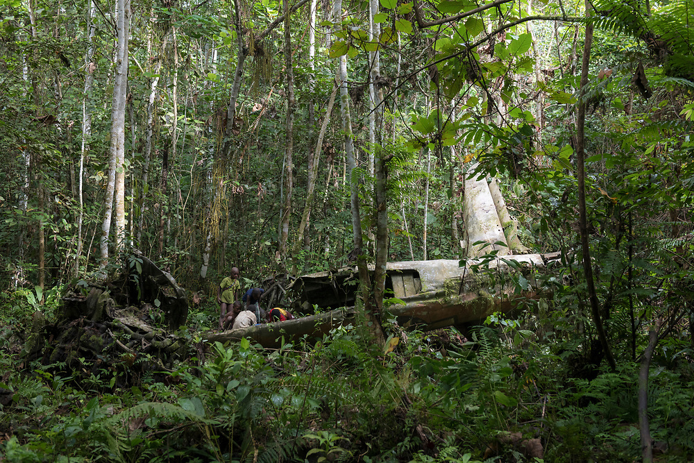 On April 5, 1944, on the return from an attack on Japanese forces in Hollandia, the A-20 Havoc piloted by 2nd Lt. Thomas E. Freeman crashed into the jungle near the Clay River in what is now Papua New Guinea. The remains of the crew were recovered in 1967. Seventy-five years after the crash, the American insignia is still visible on the fuselage, and people digging in the dirt (pictured) still find bullets from the plane's guns.<br /> <br /> (June 21, 2019)