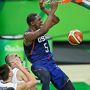 Kevin Durant of the United States dunked for two of his 30 points against Serbia on Sunday during the men's basketball gold medal match at Carioca Arena 1 during the 2016 Summer Olympics Games in Rio de Janeiro, Brazil. The United States won 96-66.