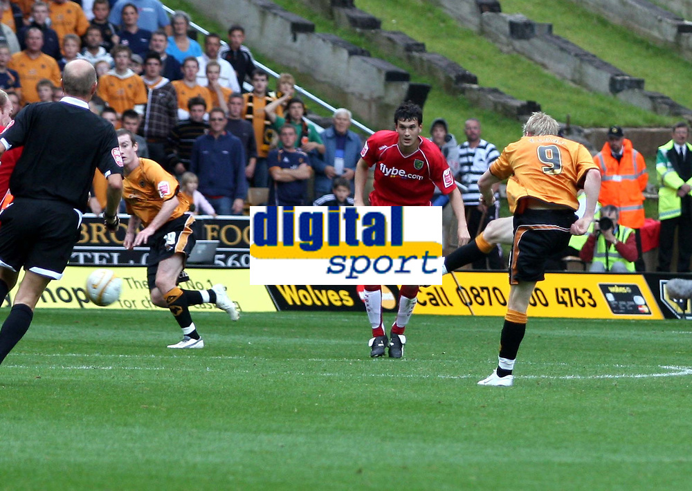Photo: Mark Stephenson.<br /> Wolverhampton Wanderers v Norwich City. Coca Cola Championship. 22/09/2007.Wolve's Andy Keogh shoots the ball in to the goal for 2-0