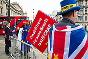 Anti brexit protesters continue their on going protest outside the Houses of Parliament in London, United Kingdom on 3rd October 2019. Prime Minister Boris Johnson has published his  EU withdrawal agreement with a alternative to the Irish backstop telling EU leaders the UK will be leaving on 31 October with or without a deal.