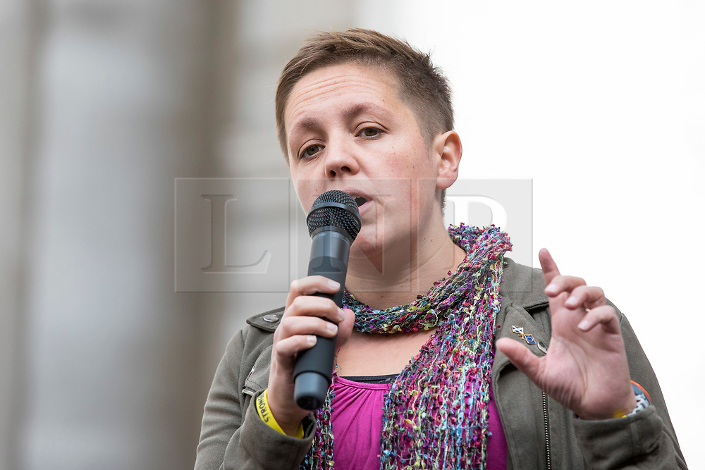 © Licensed to London News Pictures. 15/09/2018. London, UK. SNP Deputy Westminster Leader Kirsty Blackman MP speaks at a rally outside The Royal Exchange in the City of London to mark the 10th anniversary of the financial crisis. Photo credit: Rob Pinney/LNP