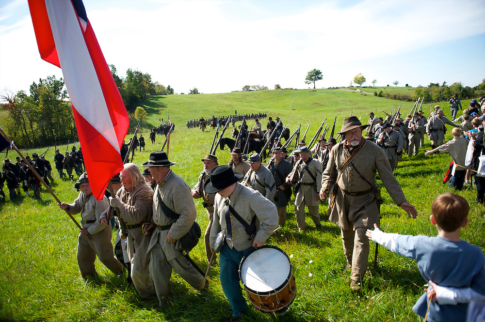 Boys from the crowd greets re-enactors following the Battle of Perryville 150th Anniversary in Perryville, KY on October 6, 2012.
