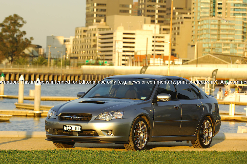 """MY06 Subaru STi GT Liberty """"Tuned by STi"""" - Urban Grey.Shot on location in Port Melbourne.7th October 2006.(C) Joel Strickland Photographics.Use information: This image is intended for Editorial use only (e.g. news or commentary, print or electronic). Any commercial or promotional use requires additional clearance."""