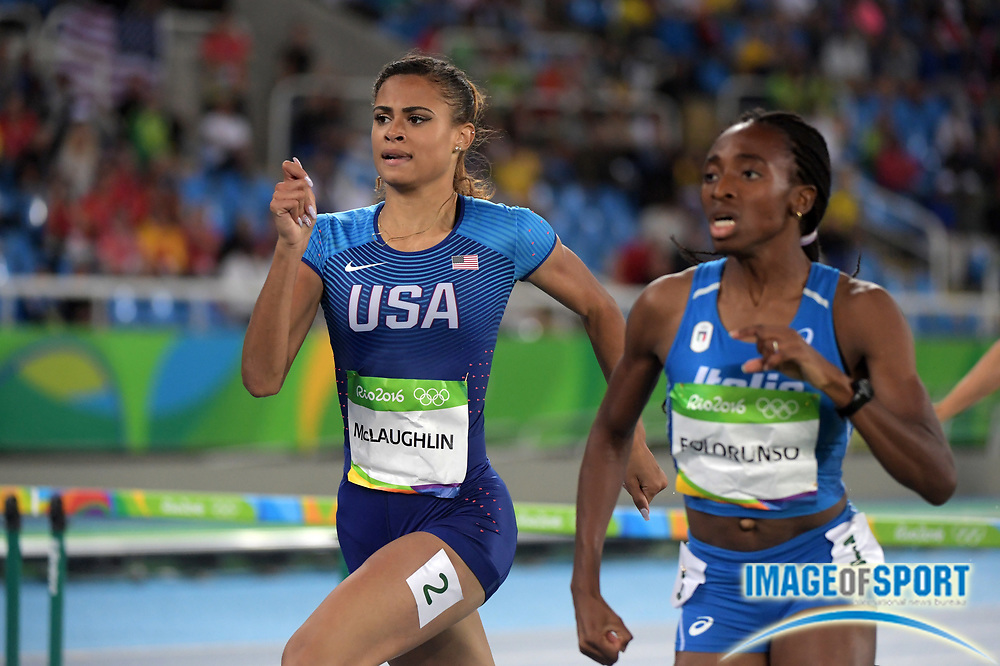 Aug 15, 2016; Rio de Janeiro, Brazil; Sydney McLaughlin (USA) places fifth in women's 400m hurdles heat in 56.32 at Estadio Olimpico Joao Havelange in the Rio 2016 Summer Olympic Games.