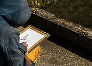 Artist draws the Ginkaku-ji (Jish?-ji or Temple of the Silver Pavilion) Zen Buddhist temple, Japan, Kyoto,