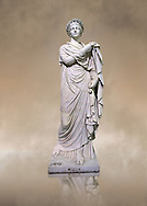 2nd century AD Roman marble sculpture known as 'The Small Women' the so called Flora, copied from a 4th century BC  Hellanistic Greek original,  inv 6404, Naples Museum of Archaeology, Italy ..<br /> <br /> If you prefer to buy from our ALAMY STOCK LIBRARY page at https://www.alamy.com/portfolio/paul-williams-funkystock/greco-roman-sculptures.html . Type -    Naples    - into LOWER SEARCH WITHIN GALLERY box - Refine search by adding a subject, place, background colour, museum etc.<br /> <br /> Visit our ROMAN WORLD PHOTO COLLECTIONS for more photos to download or buy as wall art prints https://funkystock.photoshelter.com/gallery-collection/The-Romans-Art-Artefacts-Antiquities-Historic-Sites-Pictures-Images/C0000r2uLJJo9_s0