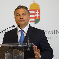 Viktor Orban Prime Minister of Hungary delivers his speech during the annual diplomatic mission leader's meeting of the Foreign Ministry of Hungary in Budapest, Hungary on August 22, 2012. ATTILA VOLGYI