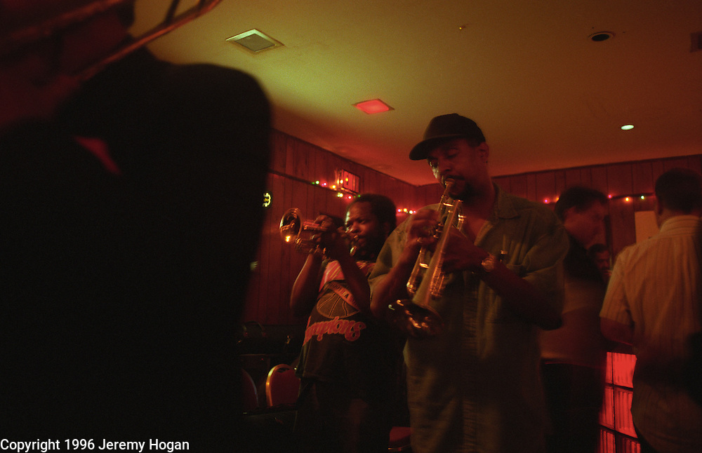 The Jam is on, during an all night jazz cutting session at the Mutual Musicians Foundation at the corner of 18th and Vine in Kansas City, Missouri.