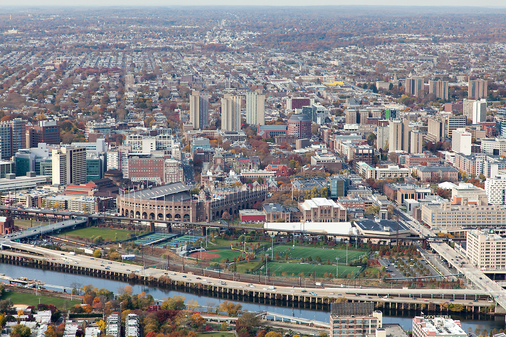 Penn Park, designed by Michael Van Valkenburgh Associates, looking west toward UPenn campus