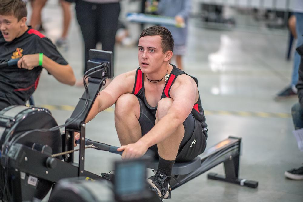 Tyler Sakamoto-Aish MALE HEAVYWEIGHT U15 1K Race #11  11:45am <br /> <br /> <br /> www.rowingcelebration.com Competing on Concept 2 ergometers at the 2018 NZ Indoor Rowing Championships. Avanti Drome, Cambridge,  Saturday 24 November 2018 © Copyright photo Steve McArthur / @RowingCelebration