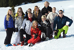 22.02.2016, Lech, AUT, Fototermin mit der Niederländischen Königsfamilie in Lech am Arlberg, im Bild vordere Reihe v.l. Prinzessin Amalia,Prinzessin Ariane, Hollands König Willem-Alexander, Königin Maxima, Prinzessin Laurentien, Countess Leonore und Prinz Constantijn, hintere Reihe v.l. Countess Eloise, Count Claus-Casimir, Prinzessin Alexia und Prinzessin Beatrix // Front row from left, Princess Amalia,Princess Ariane, Dutch King Willem-Alexander, Queen Maxima, Princess Laurentien, Countess Leonore and Prince Constantijn, back row from left, Countess Eloise, Count Claus-Casimir, Princess Alexia and Princess Beatrix pose for photographers during a photo session in the Austrian skiing resort of  in Lech, on Monday, Feb. 22, 2016. The Dutch Royal family is currently spending their winter vacation in the western Austrian province of Vorarlberg. Lech, Austria on 2016/02/22. EXPA Pictures © 2016, PhotoCredit: EXPA/ Stringer