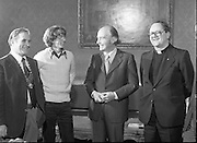 31/03/1978.03/31/1978.31st March 1978.John Treacy meets the President..Photograph of President Hillery chatting with World Cross Country Winner John Treacy, when he was received at Aras an Uachtarain, Dublin. Also present were from left, Bill Coghlan, President B.L.E, Fr. Michael Enright, Abbeyside, Dungarvan.