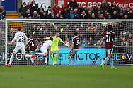 Fernando Llorente of Swansea city (9) scores his teams 1st goal.  Premier league match, Swansea city v Burnley at the Liberty Stadium in Swansea, South Wales on Saturday 4th March 2017.<br /> pic by Andrew Orchard, Andrew Orchard sports photography.