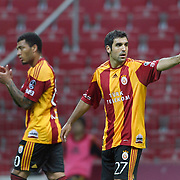 Galatasaray's Juan Emmanuel CULIO (R) celebrate his goal during their Turkish Super League soccer match Galatasaray between Konyaspor at the T T Arena at Seyrantepe in Istanbul Turkey on Sunday, 20 May 2011. Photo by TURKPIX