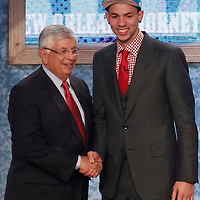 28 June 2012: Austin Rivers, picked up by the New Orleans Hornets, poses with David Stern during the 2012 NBA Draft, at the Prudential Center, Newark, New Jersey.