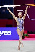 Ekaterina Vedeneeva during World Cup 2021 Of Pesaro at Virtifrigo Arena. Ekaterina is a Slovenian individualistic gymnast of russian origin, born on June 23, 1994 in Irkutsk,Russia.