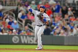 May 15, 2018 - Atlanta, GA, U.S. - ATLANTA, GA Ð MAY 15:  Cubs shortstop Addison Russell  (27) throws to first base after fielding a ground ball during the game between Atlanta and Chicago on May 15th, 2018 at SunTrust Park in Atlanta, GA. The Chicago Cubs defeated the Atlanta Braves by a score of 3 -2.  (Photo by Rich von Biberstein/Icon Sportswire) (Credit Image: © Rich Von Biberstein/Icon SMI via ZUMA Press)