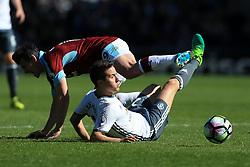 23rd April 2017 - Premier League - Burnley v Manchester United - Ander Herrera of Man Utd goes through Joey Barton of Burnley - Photo: Simon Stacpoole / Offside.