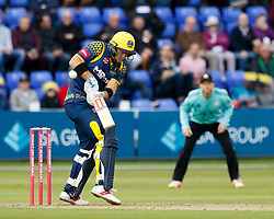 Glamorgan's Colin Ingram fends<br /> <br /> Photographer Simon King/Replay Images<br /> <br /> Vitality Blast T20 - Round 14 - Glamorgan v Surrey - Friday 17th August 2018 - Sophia Gardens - Cardiff<br /> <br /> World Copyright © Replay Images . All rights reserved. info@replayimages.co.uk - http://replayimages.co.uk