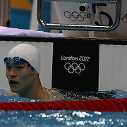 Yang Sun, China, during the Men's 200m Freestyle heats during the swimming heats at the Aquatic Centre at Olympic Park, Stratford during the London 2012 Olympic games. London, UK. 29th July 2012. Photo Tim Clayton