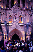 Candlelit religious procession La Parroquia church, San Migeul de Allende, Mexico c 1990