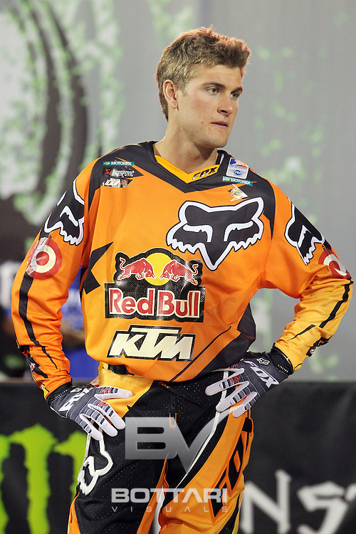LAS VEGAS, NV - OCTOBER 15: Ryan Dungey, rider of the #5 Red Bull KTM 450, talks with competitors prior to the start of the inaugural Monster Energy Cup on October 15, 2011 in Las Vegas, Nevada.  (Photo by Jeff Bottari/Getty Images)