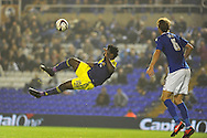 Swansea city's Wilfried Bony fails to connect with a spectacular overhead shot at goal. Capital one cup 3rd round match, Birmingham city v Swansea city at St.Andrews in Birmingham on Wed 25th Sept 2013. pic by Andrew Orchard, Andrew Orchard sports photography.