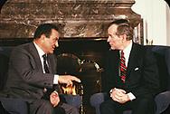 Washington DC  1989/02/01 President H.W. Bush and  Hosni Mubarak, Egypt meet.<br />Photo by Dennis Brack