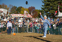 Peggy Merritt gives a good solid throw during the woman's Skillet Toss on Monday morning at the Sandwich Fair.  (Karen Bobotas/for the Laconia Daily Sun)