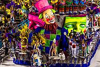 Floats in the Carnaval parade of GRES Academicos de Vigario Geral samba school, Sambadrome, Rio de Janeiro, Brazil.