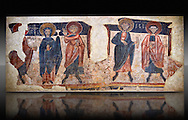Romanesque frescoes of the Apostles from the church of Sant Roma de les Bons, painted around 1164, Encamp, Andorra. National Art Museum of Catalonia, Barcelona. MNAC 15783 .<br /> <br /> If you prefer you can also buy from our ALAMY PHOTO LIBRARY  Collection visit : https://www.alamy.com/portfolio/paul-williams-funkystock/romanesque-art-antiquities.html<br /> Type -     MNAC     - into the LOWER SEARCH WITHIN GALLERY box. Refine search by adding background colour, place, subject etc<br /> <br /> Visit our ROMANESQUE SCULPTURE PHOTO COLLECTION for more   photos  to download or buy as prints https://funkystock.photoshelter.com/gallery/Romanesque-Statue-Sculptures-Pictures-Images/G0000ezFHYeF_xRI/C0000YpKXiAHnG2k