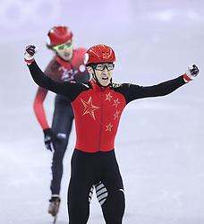 PYEONGCHANG, Feb. 22, 2018  Wu Dajing of China celebrates victory after crossing finishing line of men's 500m final of short track speed skating at the 2018 PyeongChang Winter Olympic Games at Gangneung Ice Arena, Gangneung, South Korea, Feb. 22, 2018. Wu Dajing claimed gold medal in a time of 0:39.584 and set new world record. (Credit Image: © Lan Hongguang/Xinhua via ZUMA Wire)