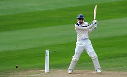 Yorkshire's Steve Patterson cuts the ball Photo mandatory by-line: Harry Trump/JMP - Mobile: 07966 386802 - 25/05/15 - SPORT - CRICKET - LVCC County Championship - Division 1 - Day 2- Somerset v Sussex Sharks - The County Ground, Taunton, England.