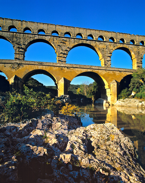 The Romans built the Pont du Gard over the Gard River in southern France.