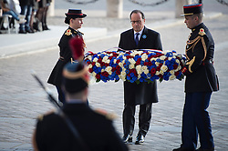 French President Francois Hollande lays a wreath of flowers at the Tomb of the Unknown Soldier under the Arc de Triomphe during Armistice Day ceremonies marking the 98th anniversary of the end of World War I, in Paris, France on November 11, 2016. Photo by Jeremy Lempin/ABACAPRESS.COM