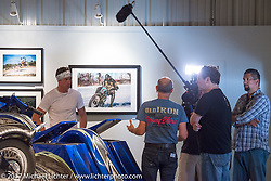 Access Television interview with Michael Lichter at the Old Iron - Young Blood exhibition in the Motorcycles as Art gallery at the Buffalo Chip during the annual Sturgis Black Hills Motorcycle Rally.  SD, USA. Thursday August 10, 2017.  Photography ©2017 Michael Lichter.