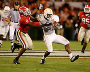 Tennessee WR Robert Meachem breaks away from Georgia defender Paul Oliver during the game between the Georgia Bulldogs and the Tennessee Volunteers at Sanford Stadium in Athens, GA on October 7, 2006.<br />